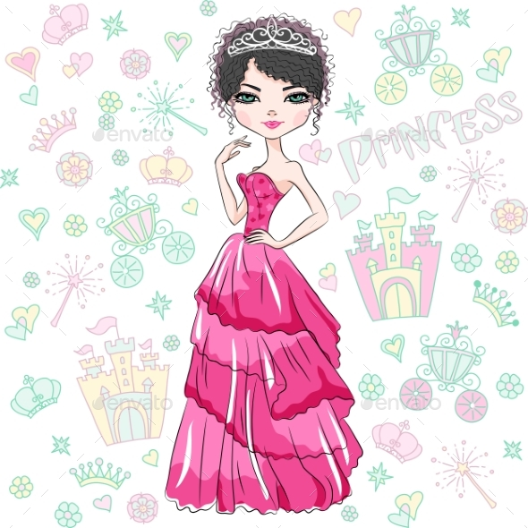 Vector Fashion Girl Princess - People Characters