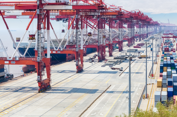 shipping container terminal closeup - Stock Photo - Images