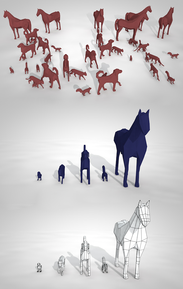 Pack of Low Poly Animals - 3DOcean Item for Sale