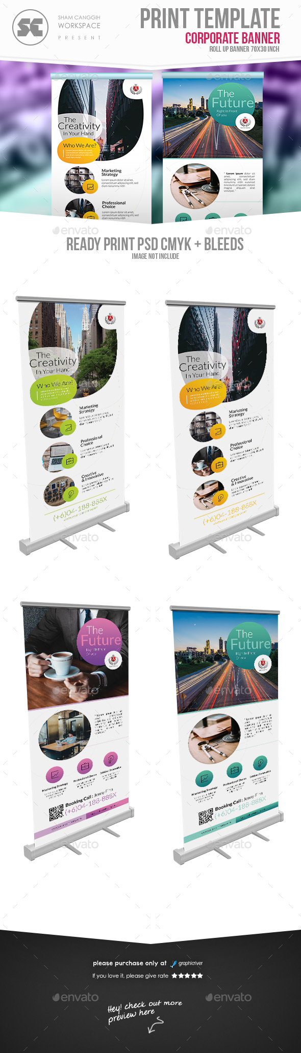 Corporate Roll Up Banner 2 in 1 - Signage Print Templates