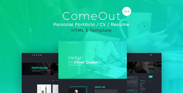 ComeOut -  Responsive Html Portfolio CV/Resume Template - Portfolio Creative