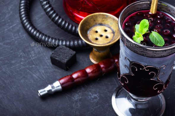 hookah with alcohol berry cocktail - Stock Photo - Images