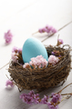 Rustic style painted easter egg in the nest on white table - PhotoDune Item for Sale