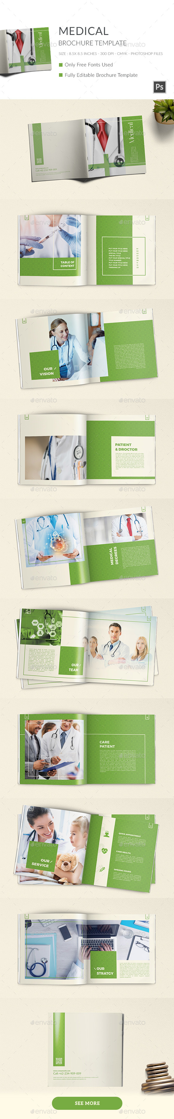 Medical Square Portfolio Brochure Template - Brochures Print Templates