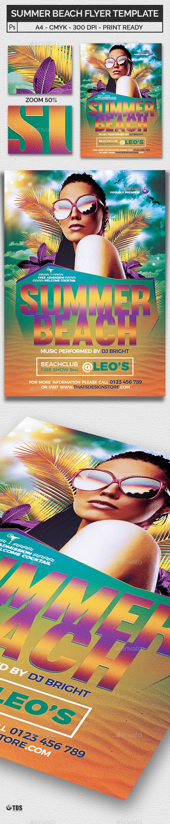 Summer Beach Flyer Template V1 - Clubs & Parties Events