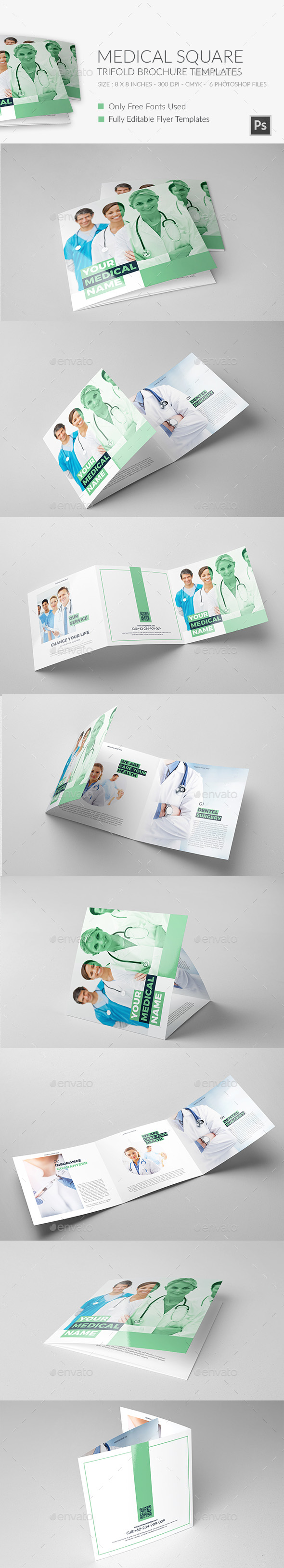 Medical Square Trifold Brochure - Brochures Print Templates