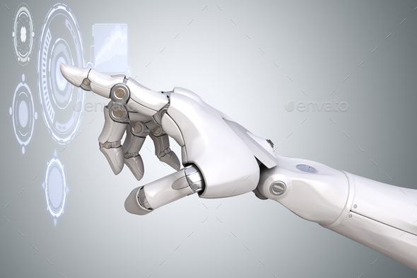 Robot's arm working with Virtual Reality touchscreen - Stock Photo - Images