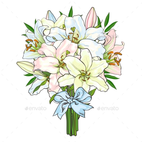Bouquet of Lily Flowers Tied with Ribbon - Flowers & Plants Nature