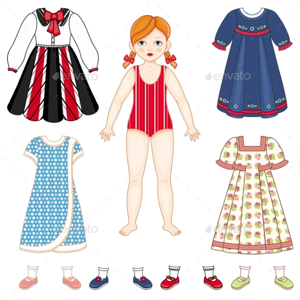 Paper Doll and Set of Clothes - Dresses and Shoes - People Characters