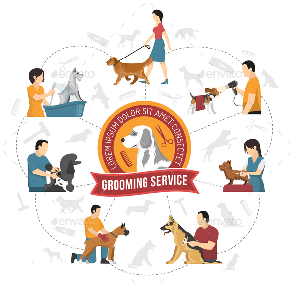 Qualified Grooming Service Background - Animals Characters
