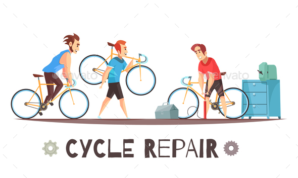 Bicycle Repair Mechanic Cartoon Composition - Sports/Activity Conceptual
