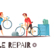 Bicycle Repair Mechanic Cartoon Composition