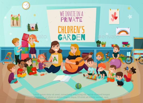 Kindergarten Poster Illustration - Miscellaneous Vectors
