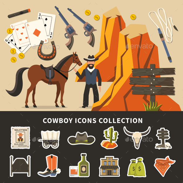 Cowboy Icons Collection - People Characters