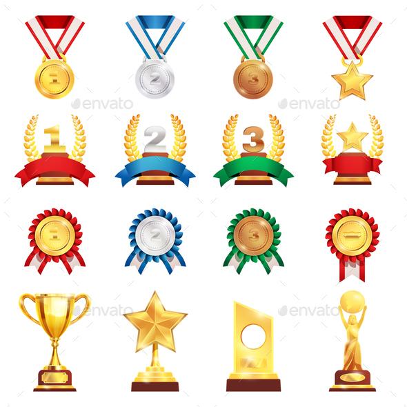 Award Trophy Medal Realistic Set - Backgrounds Decorative