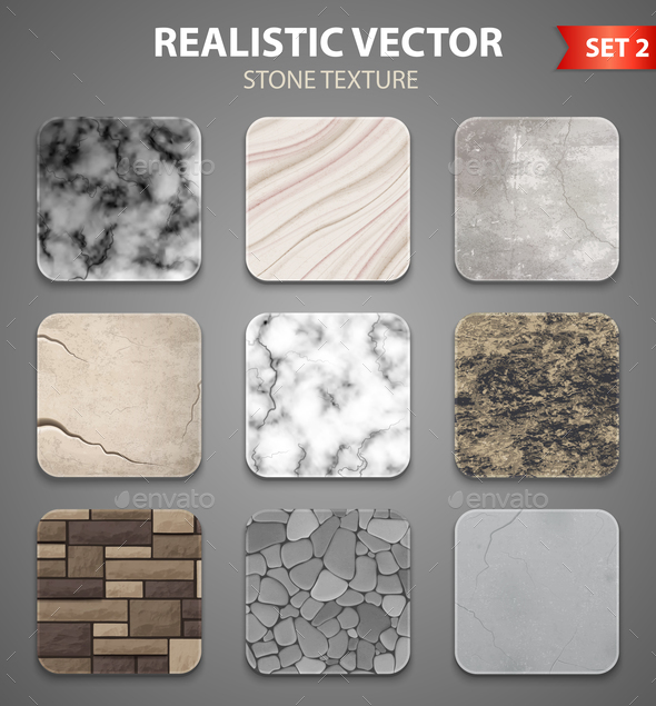 Stone Texture Samples Realistic Set - Miscellaneous Vectors