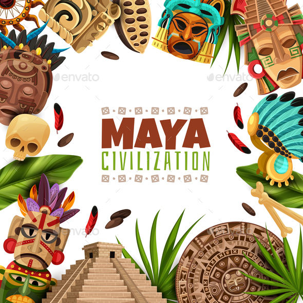 Maya Civilization Cartoon Frame - Patterns Decorative