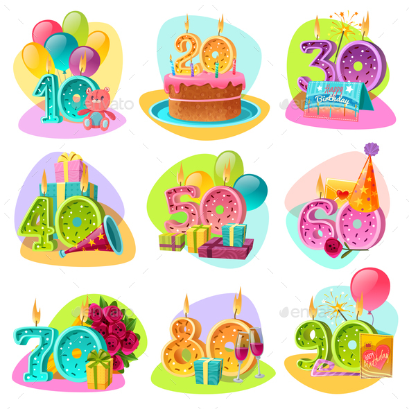 Anniversary Candle Numbers Retro Set - Seasons/Holidays Conceptual