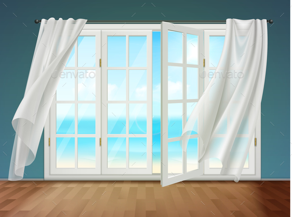 Open Window With Fluttering Curtains - Backgrounds Decorative