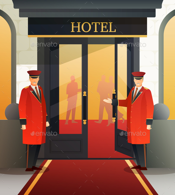 Hotel Doormen Flat Composition - People Characters