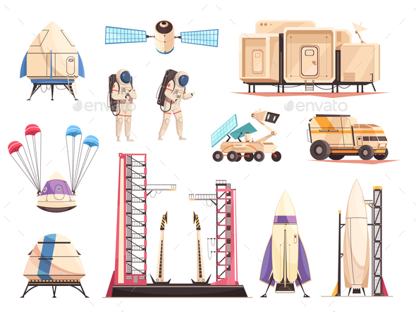 Space Research Technology Icons Set - Technology Conceptual