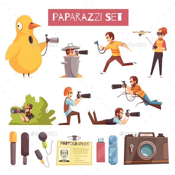 Paparazzi Photographer Cartoon Icons Set - Industries Business