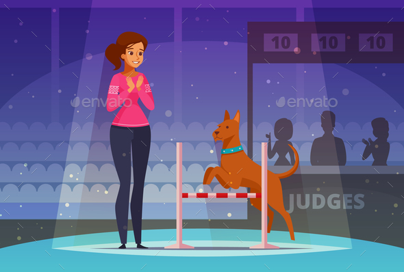 Pet Competition Cartoon Composition - Animals Characters