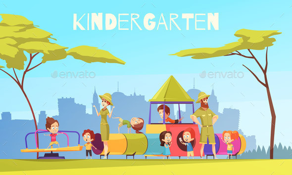 Kindergarten Playing Ground Composition - People Characters