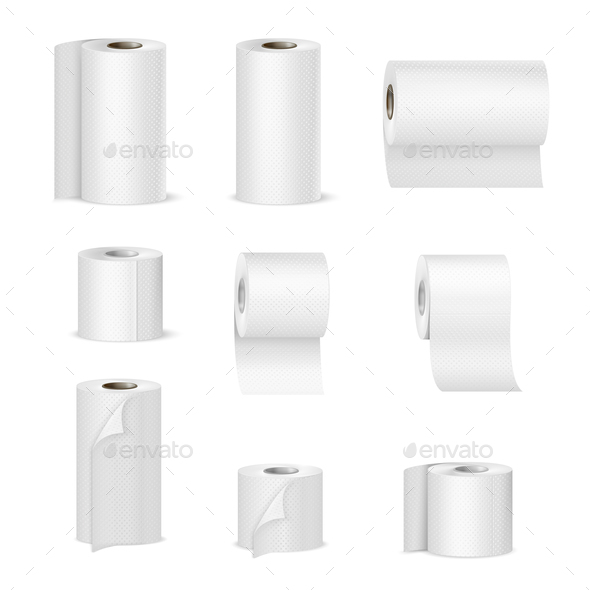 Paper Towels Toilet Rolls Realistic - Miscellaneous Vectors