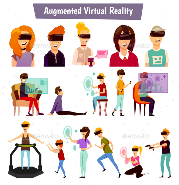Virtual Reality People Orthogonal Icons - Computers Technology