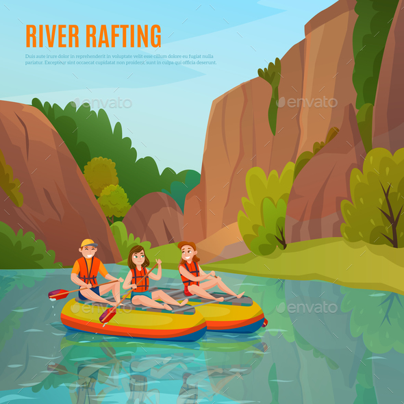 River Rafting Outdoor Composition - Sports/Activity Conceptual