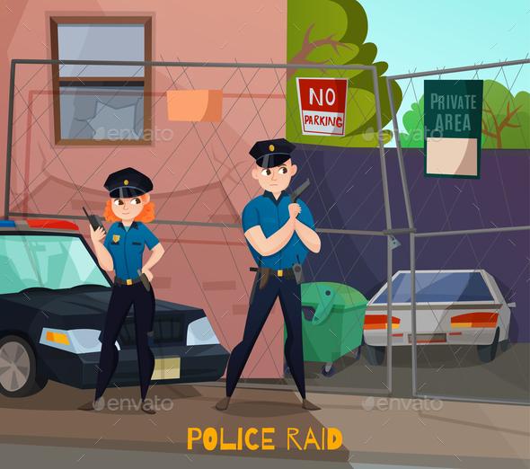 Police Raid Cartoon Composition - People Characters