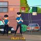 Police Raid Cartoon Composition