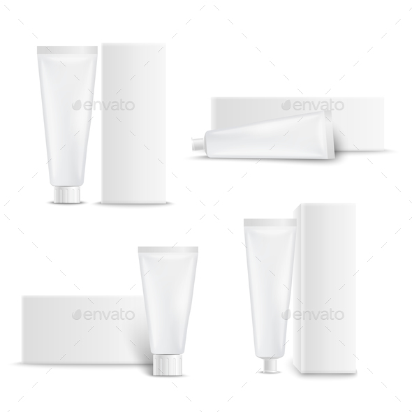 Dental Care Toothpaste Packages Set - Health/Medicine Conceptual