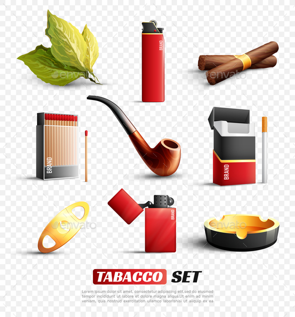 Tobacco Products Transparent Background Set - Man-made Objects Objects