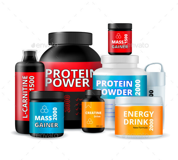Fitness Supplements Bottles Realistic Composition - Sports/Activity Conceptual