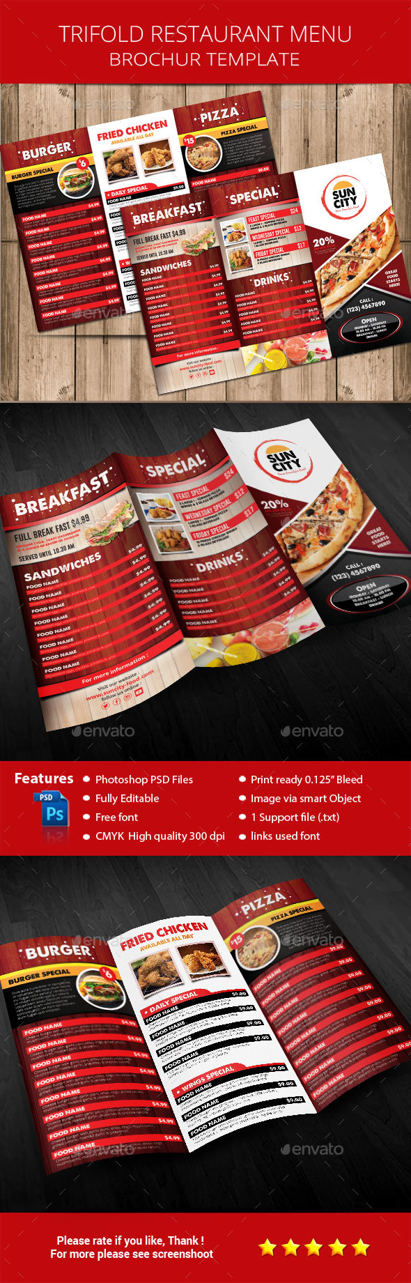 Rustic Restaurant Menu Brochure - Restaurant Flyers
