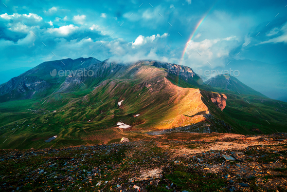 Amazing rainbow on the top of Grossglockner pass - Stock Photo - Images