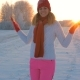 Cheerful Woman Dancing Winter Outdoor Jumping on the Snow and Hands up - VideoHive Item for Sale
