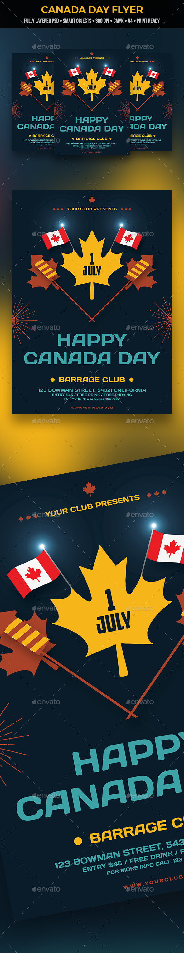 Canada Day Flyer - Clubs & Parties Events