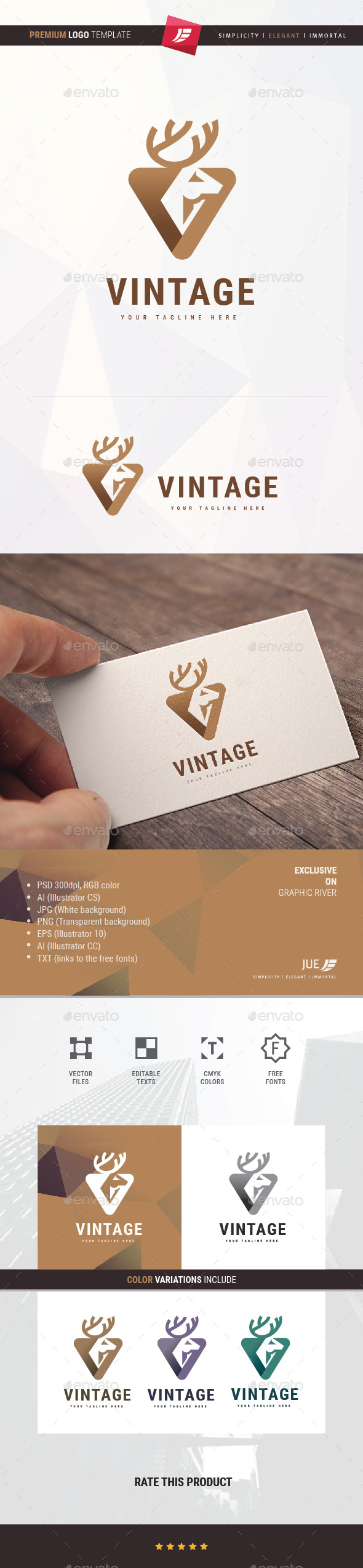 Deer Vintage Logo - Animals Logo Templates
