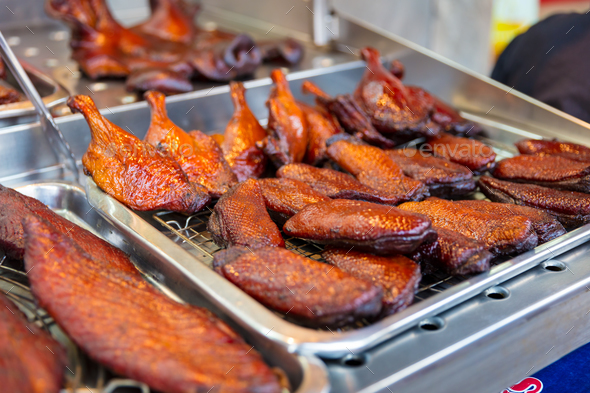Roasted Duck At Street Market Stall - Stock Photo - Images