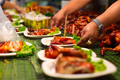 Vendor Serving Meat In Plates At Thai Street Food - PhotoDune Item for Sale