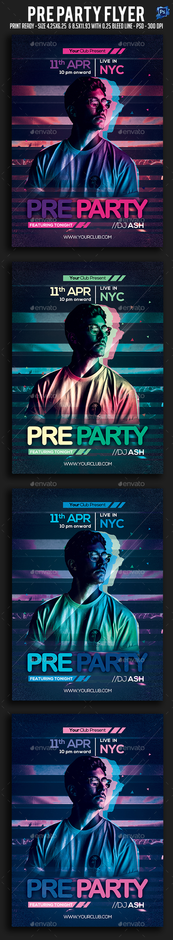 Pre Party Flyer - Clubs & Parties Events