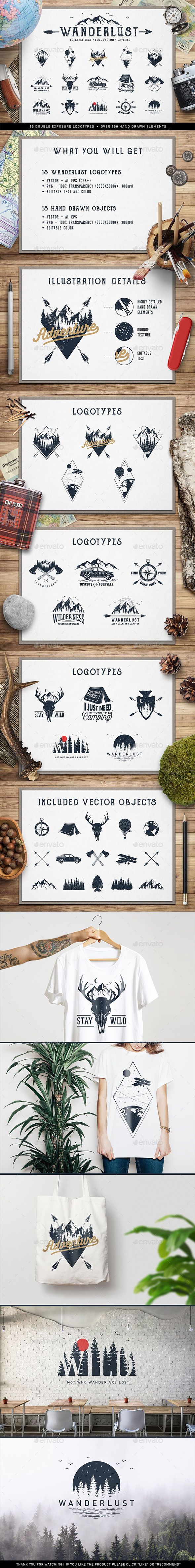 Wanderlust. 15 Double Exposure Logos - Badges & Stickers Web Elements