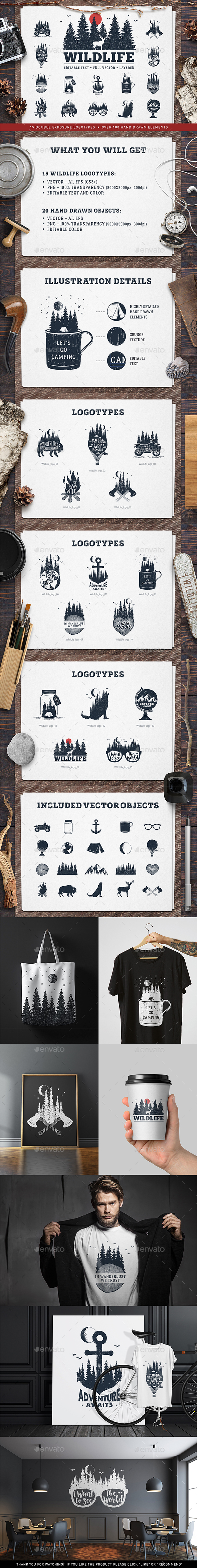 WildLife. 15 Double Exposure Logos - Badges & Stickers Web Elements