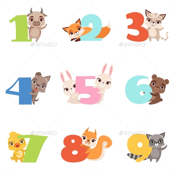 Cartoon Set with Colorful Numbers From 1 To 9 - Miscellaneous Vectors