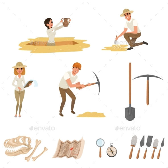 Cartoon Flat Icons Set with Tools - People Characters