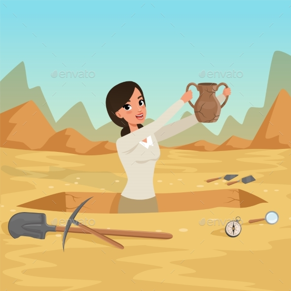 Girl Archaeologist Waist-deep in the Pit with Old - People Characters