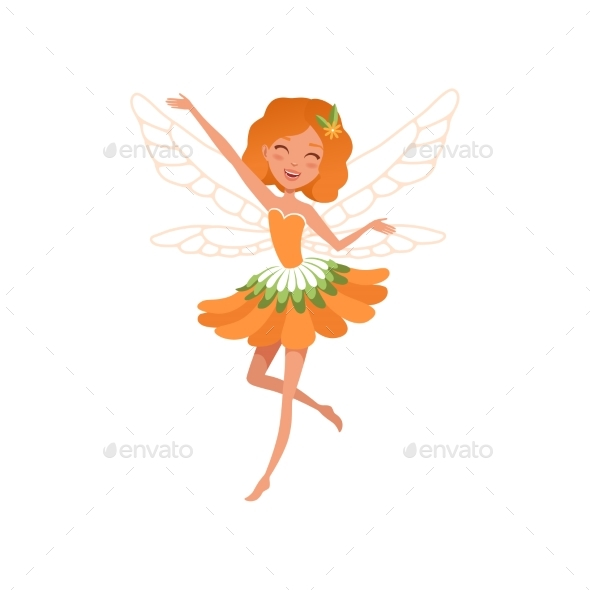 Cheerful Red-haired Fairy with Little Magic Wings - People Characters
